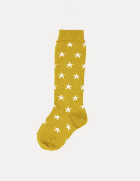 Mustard socks with stars