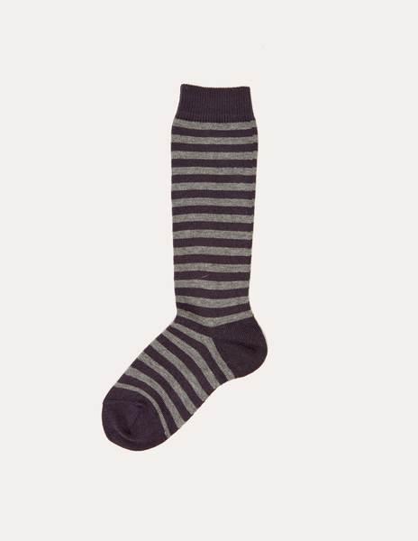 Blackberry/grey striped socks