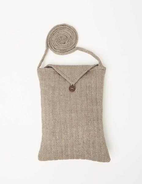 Grey herringbone crossbody bag