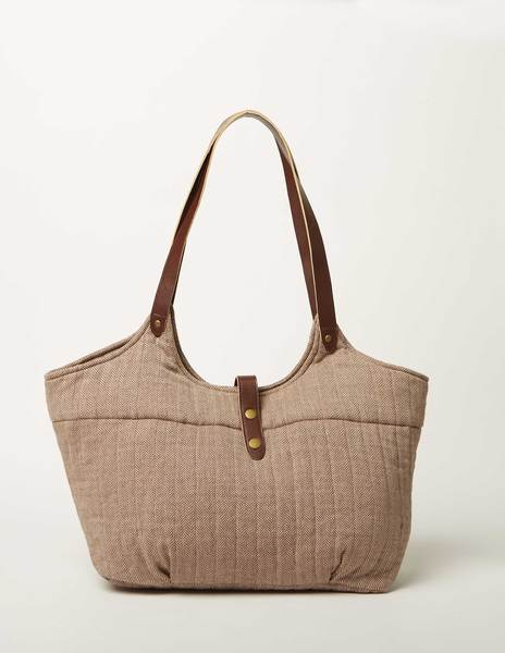 Rust herringbone bag
