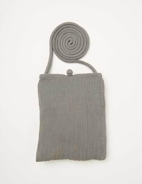 Grey creased crossbody bag