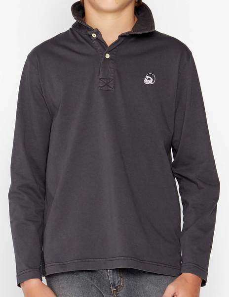 Anthracite long sleeve polo