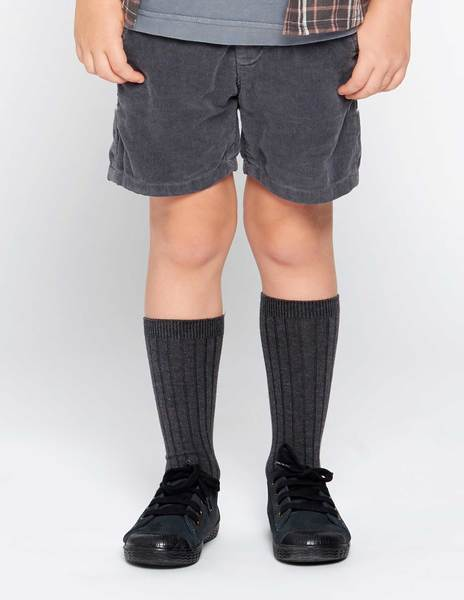 Anthracite corduroy shorts