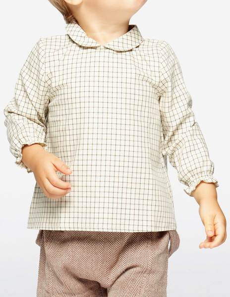 Camisa cuello redondo cuadro verde/marrón