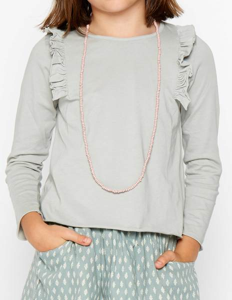 Grey shoulder ruffle top