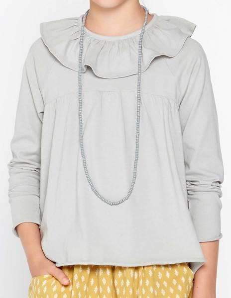 Camiseta volante corte gris