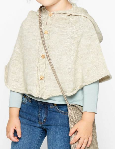 Beige hooded cape
