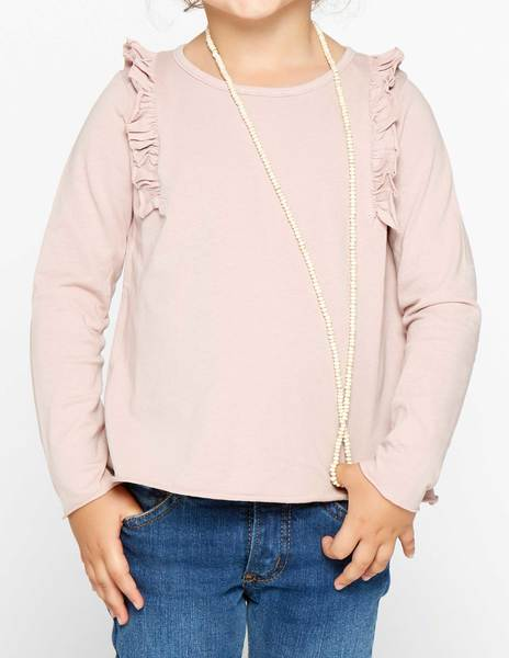 Camiseta volante hombro rosa