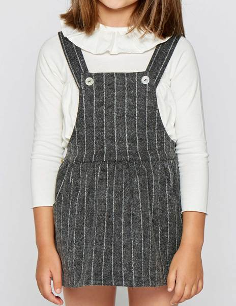 Pinstripe skirt with straps