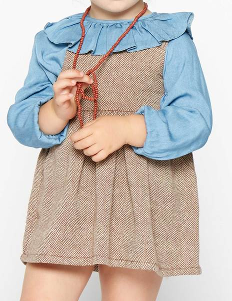 Rust herringbone skirt with straps