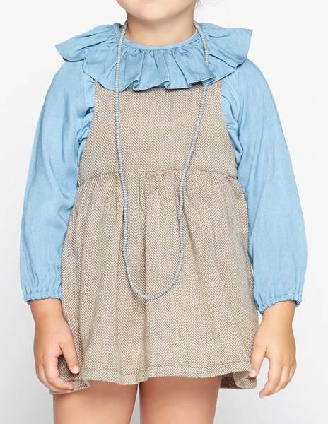 Grey herringbone skirt with straps