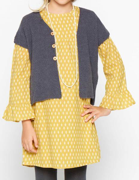 Vestido ramitas mostaza