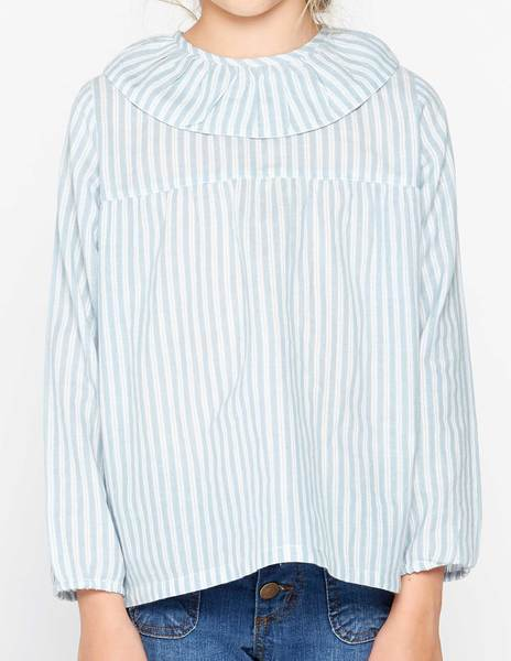 Camisa volante corte azul raya blanca