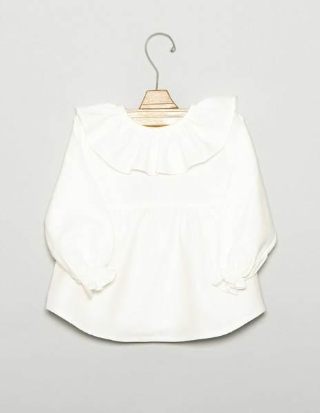 Camisa bebé volante corte cruda