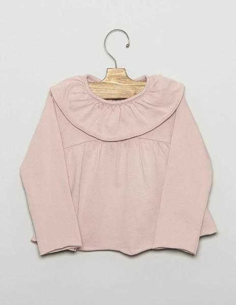 Camiseta bebé volante corte rosa