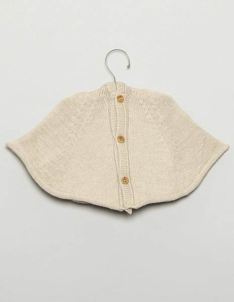 Beige baby cape with hood