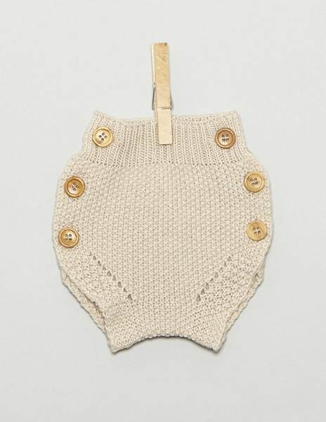 Beige newborn bloomers with buttons