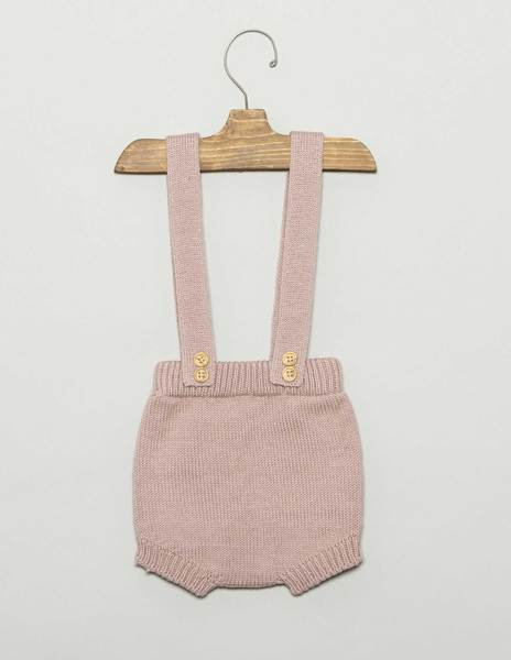 Pink baby bloomers with straps and buttons