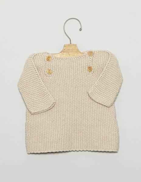 Jersey bebé botones beige