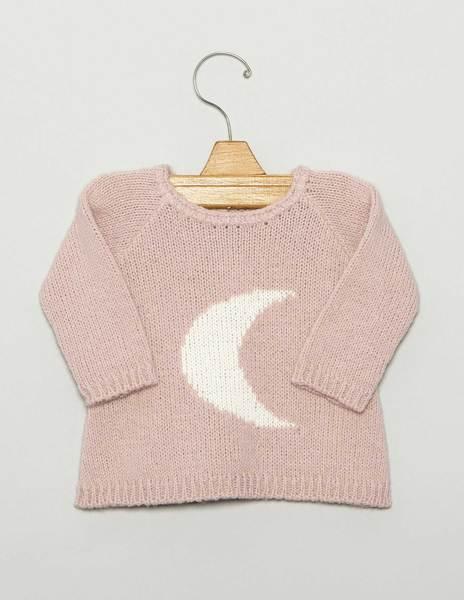 "Pink ""MOON"" newborn sweater"