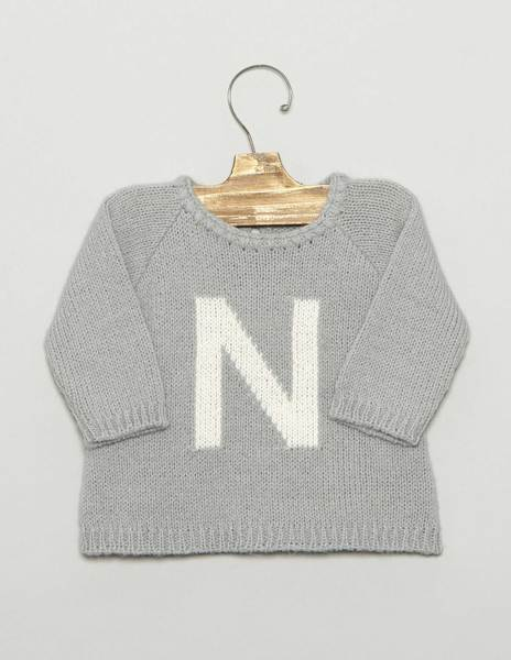 "Green ""N"" newborn sweater"