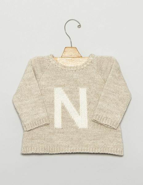 "Beige ""N"" baby sweater"
