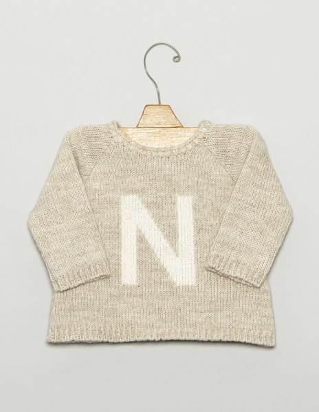 "Beige ""N"" newborn sweater"