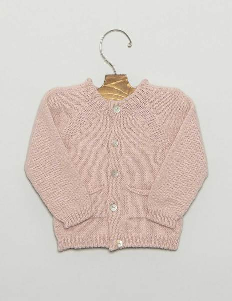Pink baby cardigan with pockets