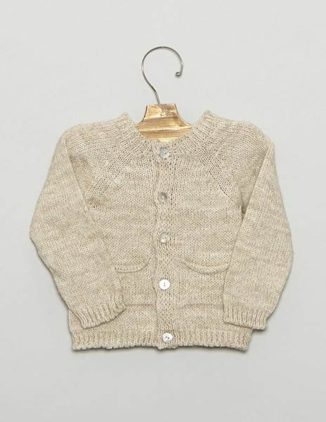 Beige newborn cardigan with pockets