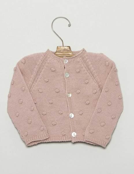 Chaqueta primera puesta bolitas rosa