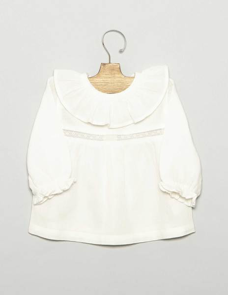 Camisa bebé cuello volante cenefa