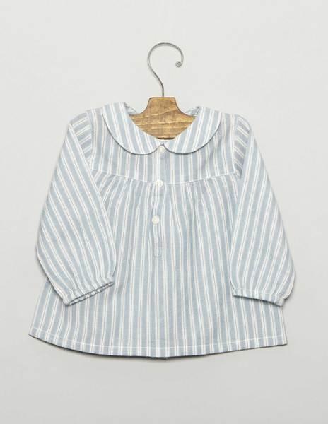 Camisa bebé cuellos azul raya blanca