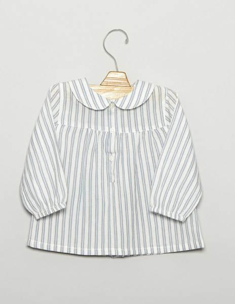 Camisa bebé cuellos blanca raya azul