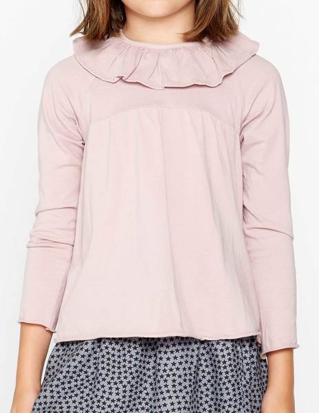 Camiseta volante corte rosa