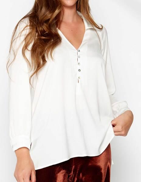 Camisa seda botones cruda