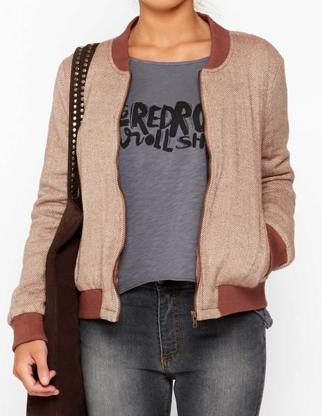Rust herringbone bomber jacket