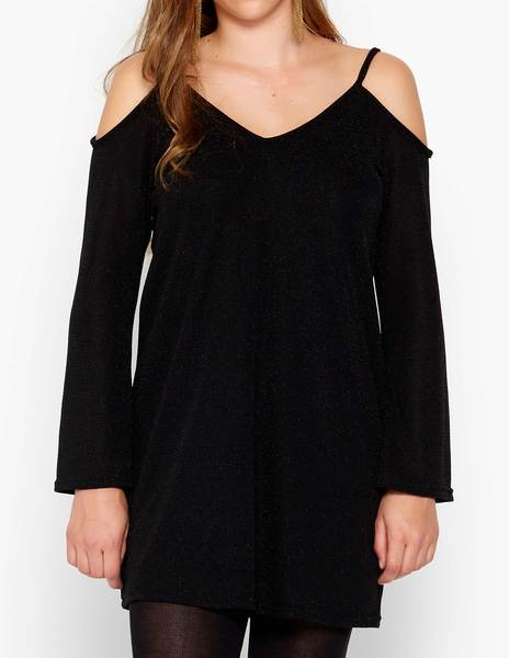 Black shiny cold shoulder dress