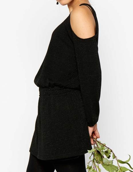 Black flecked cold shoulder dress