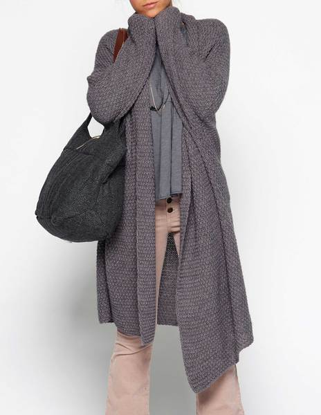 Long anthracite cardigan