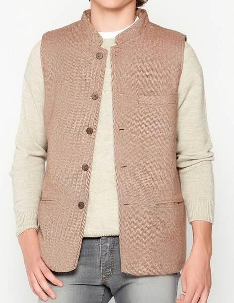 Rust herringbone waistcoat