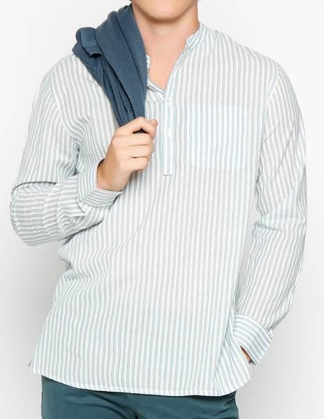 Camisa mao blanca raya azul