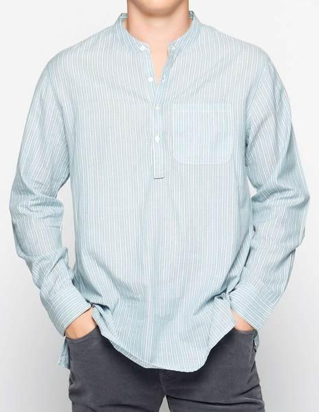 Blue mandarin collar shirt with anthracite stripes