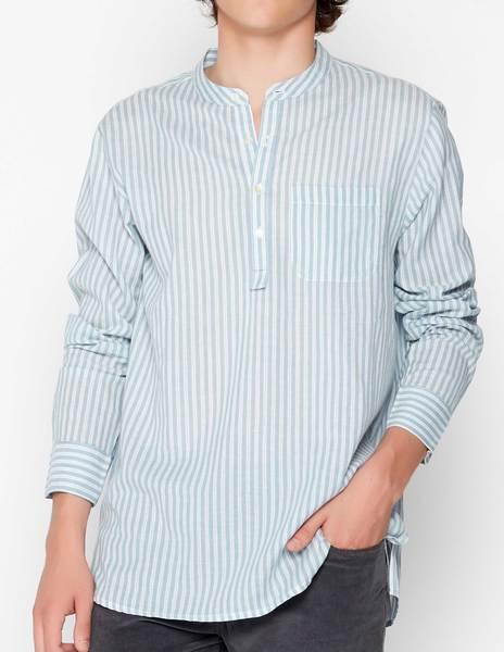 Blue mandarin collar shirt with white stripes