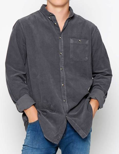 Anthracite corduroy shirt