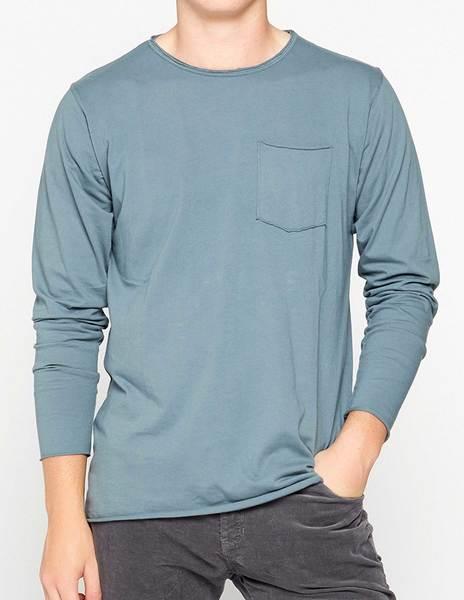 Grey blue long sleeve tee-shirt