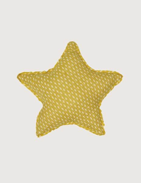 Mustard branches large star cushion