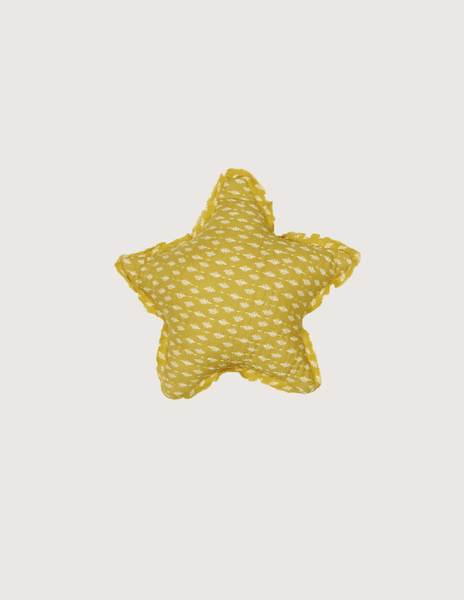 Mustard branches small star cushion