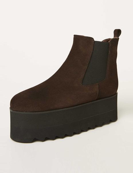 Brown platform boots
