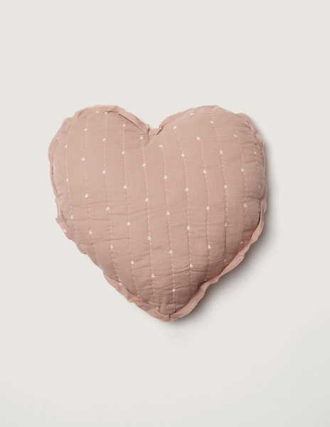 Pink bushes large heart cushion