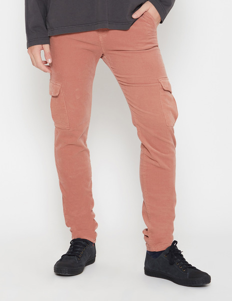 Rust cord cargo trousers for men
